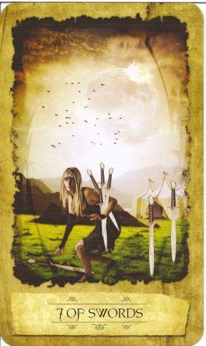 Ý nghĩa lá 7 of Swords trong bộ Mystic Dreamer Tarot
