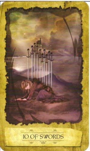 Ý nghĩa lá 10 of Swords trong bộ Mystic Dreamer Tarot