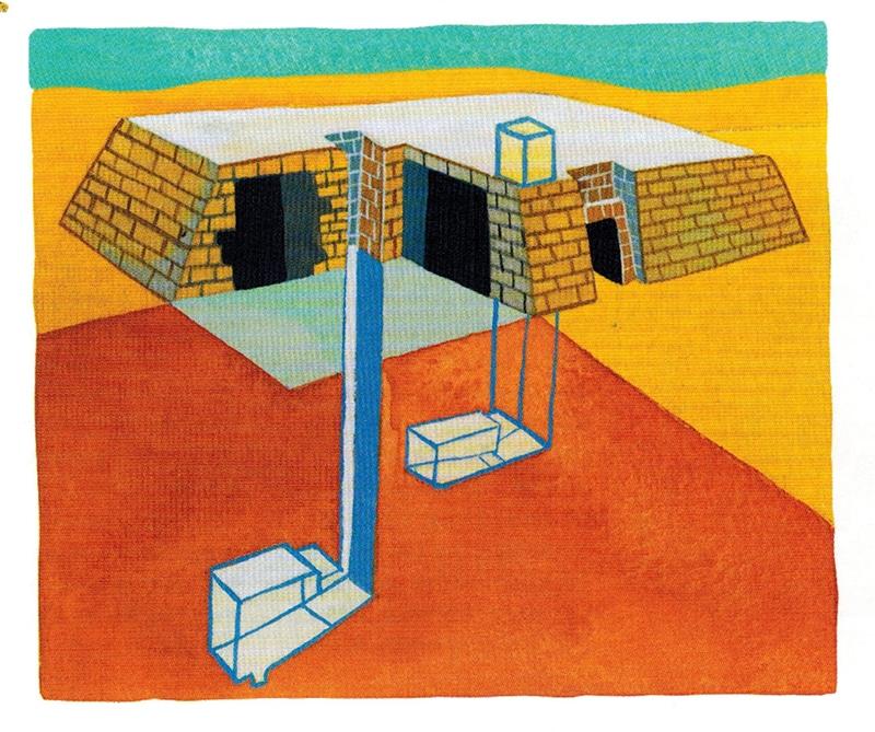 Gạch xây lăng mộ được làm từ bùn sông Nile phơi nắng. Các cảnh vẽ trên tường bên trong khắc họa những trò tiêu khiển điển hình, thường là những trò từng được người quá cố ưa thích.