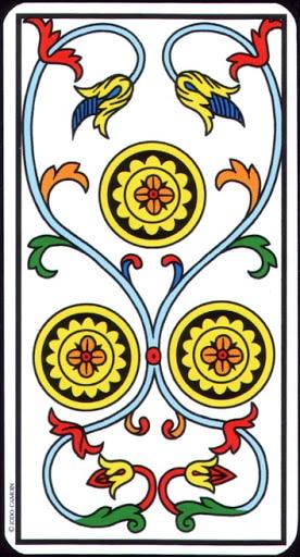 Ý nghĩa lá 3 of Pentacles trong bộ Tarot of Marseilles