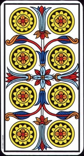 Ý nghĩa lá 8 of Pentacles trong bộ Tarot of Marseilles