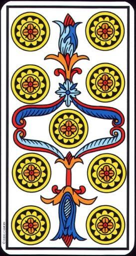 Ý nghĩa lá 9 of Pentacles trong bộ Tarot of Marseilles