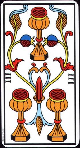 Ý nghĩa lá 3 of Cups trong bộ Tarot of Marseilles