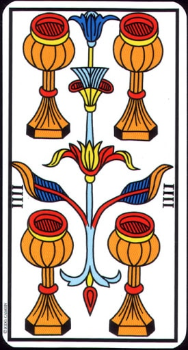 Lá 4 of Cups – Tarot of Marseilles