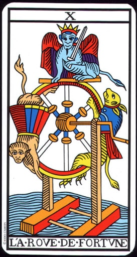 Ý nghĩa lá X - The Wheel of Fortune trong bộ Tarot of  Marseilles
