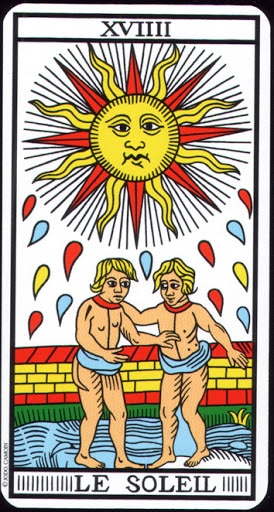 Lá XVIIII. The Sun – Tarot of  Marseilles