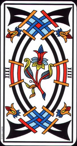 Ý nghĩa lá 4 of Swords trong bộ Tarot of Marseilles