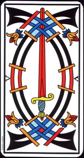 Ý nghĩa lá 5 of Swords trong bộ Tarot of Marseilles