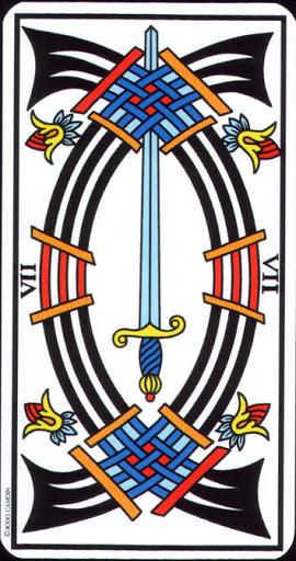 Lá 7 of Swords – Tarot of Marseilles