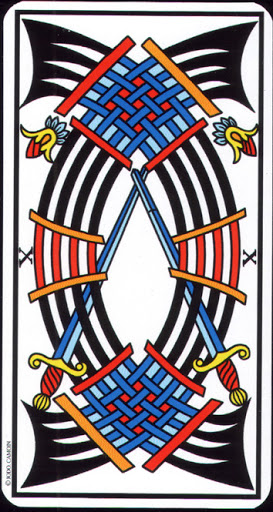 Lá 10 of Swords – Tarot of Marseilles