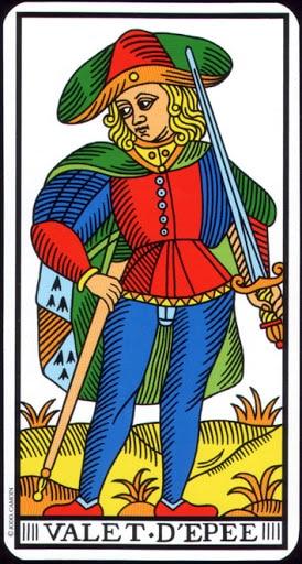 Lá Knave of Swords – Tarot of Marseilles