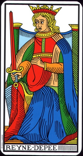 Lá Queen of Swords – Tarot of Marseilles