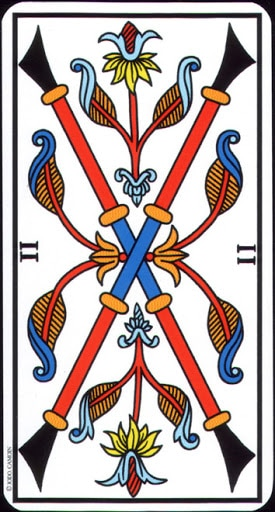 Lá 2 of Wands – Tarot of Marseilles