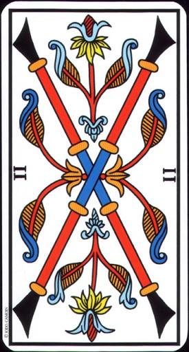 Ý nghĩa lá 2 of Wands trong bộ Tarot of Marseilles