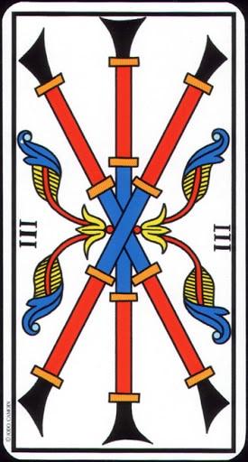 Ý nghĩa lá 3 of Wands trong bộ Tarot of Marseilles