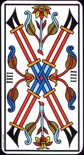 Ý nghĩa lá 4 of Wands trong bộ Tarot of Marseilles