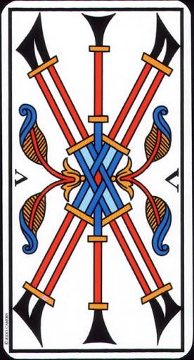 Ý nghĩa lá 5 of Wands trong bộ Tarot of Marseilles