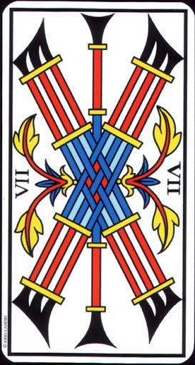 Ý nghĩa lá 7 of Wands trong bộ Tarot of Marseilles