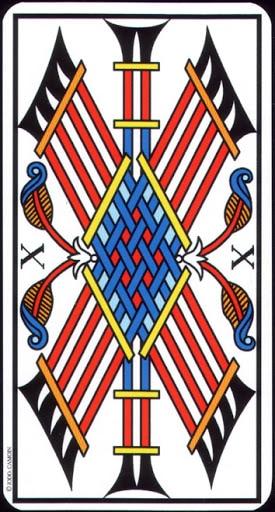 Ý nghĩa lá 10 of Wands trong bộ Tarot of Marseilles