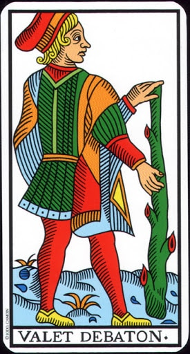 Lá Knave of Wands – Tarot of Marseilles