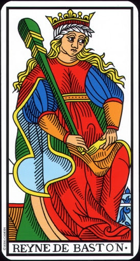 Lá Queen of Wands – Tarot of Marseilles