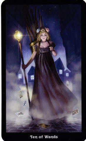 Ý nghĩa lá 10 of Wands trong bộ Steampunk Tarot