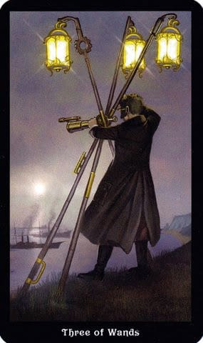 Ý nghĩa lá 3 of Wands trong bộ Steampunk Tarot