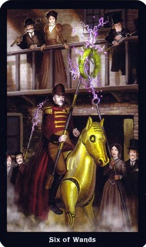 Ý nghĩa lá 6 of Wands trong bộ Steampunk Tarot