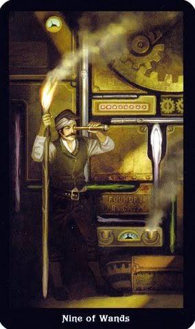 Ý nghĩa lá 9 of Wands trong bộ Steampunk Tarot