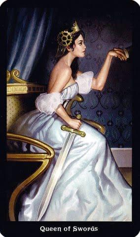 Ý nghĩa lá Queen of Swords trong bộ Steampunk Tarot