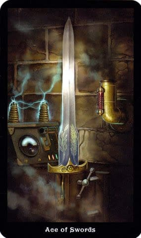 Lá Ace of Swords – Steampunk Tarot