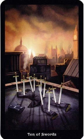 Ý nghĩa lá 10 of Swords trong bộ Steampunk Tarot