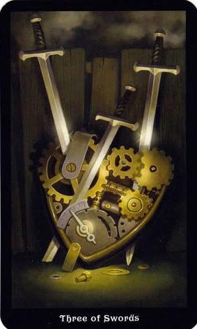 Ý nghĩa lá 3 of Swords trong bộ Steampunk Tarot