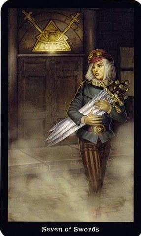 Ý nghĩa lá 7 of Swords trong bộ Steampunk Tarot