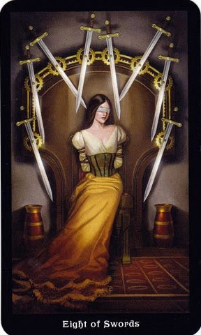 ý nghĩa lá 8 of Swords trong bộ Steampunk Tarot