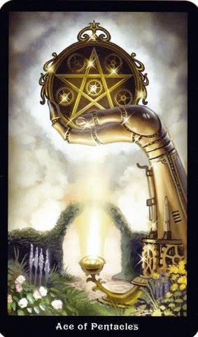 Ý nghĩa lá Ace of Pentacles trong bộ Steampunk Tarot