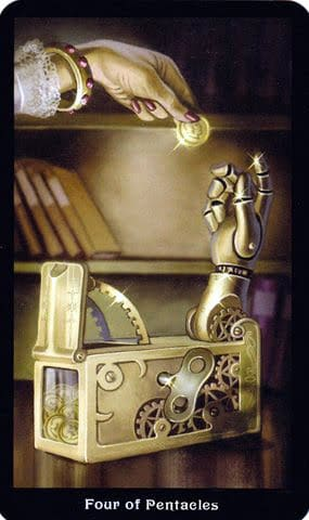 Ý nghĩa lá 4 of Pentacles trong bộ Steampunk Tarot