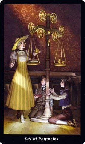 Ý nghĩa lá 6 of Pentacles trong bộ Steampunk Tarot