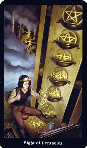 Ý nghĩa lá 8 of Pentacles trong bộ Steampunk Tarot