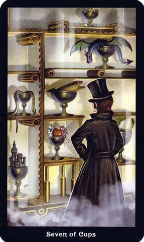 Ý nghĩa lá 7 of Cups trong bộ Steampunk Tarot