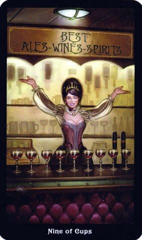 Ý nghĩa lá 9 of Cups trong bộ Steampunk Tarot