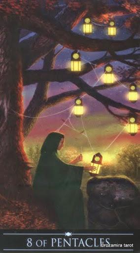 Ý nghĩa lá 8 of Pentacles trong bộ Silver Witchcraft Tarot