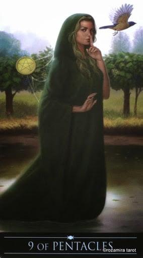 Ý nghĩa lá 9 of Pentacles trong bộ Silver Witchcraft Tarot