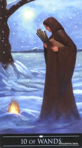 Ý nghĩa lá 10 of Wands trong bộ Silver Witchcraft Tarot