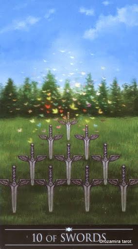 Ý nghĩa lá 10 of Swords trong bộ Silver Witchcraft Tarot