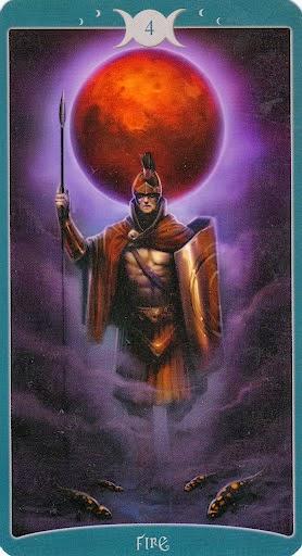 Ý nghĩa lá 4 of Fire trong bộ Book of Shadows Tarot - As Above