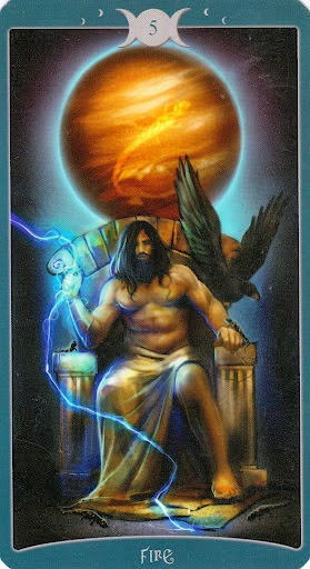 Ý nghĩa lá 5 of Fire trong bộ Book of Shadows Tarot - As Above