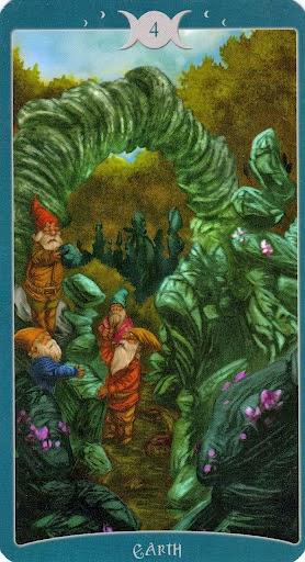 Ý nghĩa lá 4 of Earth trong bộ Book of Shadows Tarot - As Above