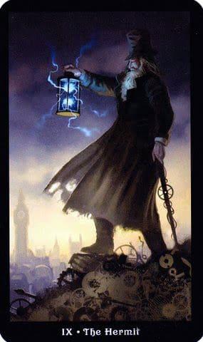 Ý nghĩa lá IX - The Hermit trong bộ Steampunk Tarot