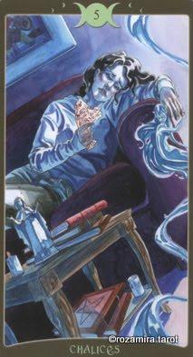 Ý nghĩa lá 5 of Chalices trong bộ Book of Shadows Tarot - So Below